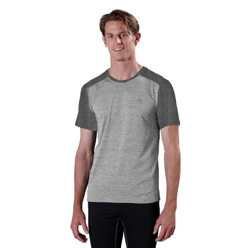 Mens ROAD RUNNER SPORTS Base Runner Short Sleeve Technical Tops - Heather Grey/Heather Charcoal ...