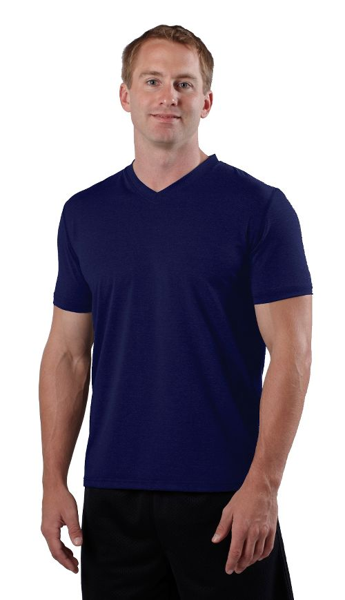 Mens Road Runner Sports All Day V-Neck Short Sleeve Technical Tops - Midnight Blue XXL
