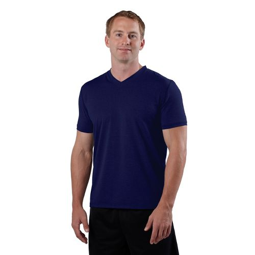 Mens Road Runner Sports Back To Basic V-Neck Short Sleeve Technical Tops - Midnight Blue ...