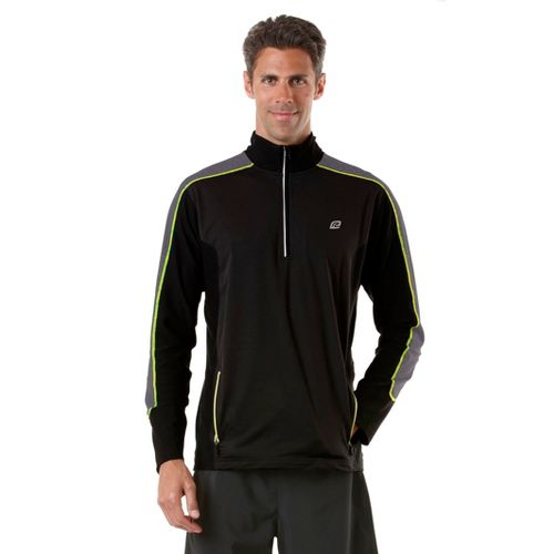 Mens R-Gear Chill Out Long Sleeve 1/2 Zip Technical Tops - Black/Heather Charcoal/Electrolyte XL
