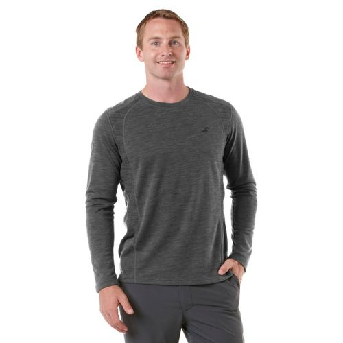 Mens R-Gear Any Weather Wool Long Sleeve No Zip Technical Tops - Heather Charcoal L ...