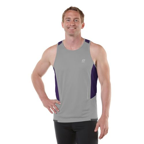 Mens R-Gear Finish Cool Singlets Technical Tops - Cinderblock/Deep Purple M