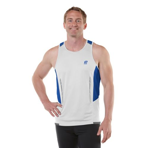 Mens R-Gear Finish Cool Singlets Technical Tops - White/Cobalt/Steel M
