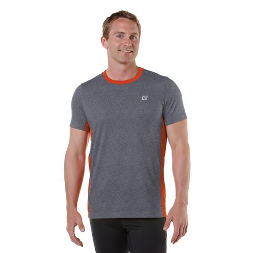 Mens R-Gear Speed Play Short Sleeve Technical Tops - Heather Charcoal/Firecracker Orange M