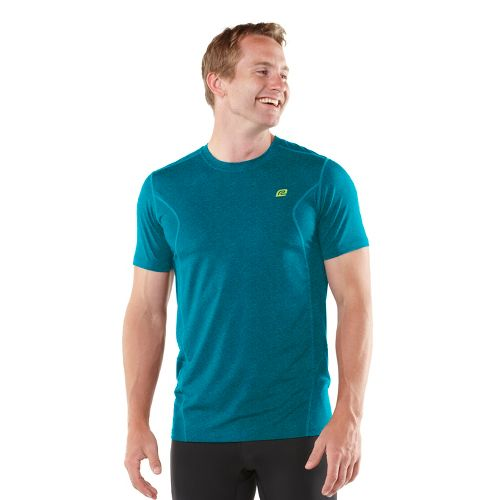Mens ROAD RUNNER SPORTS Training Day Short Sleeve Technical Tops - Heather Blue Tropic S ...