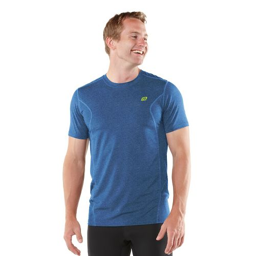 Mens ROAD RUNNER SPORTS Training Day Short Sleeve Technical Tops - Heather Cobalt XL