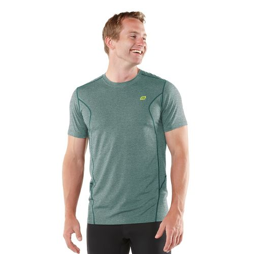 Mens ROAD RUNNER SPORTS Training Day Short Sleeve Technical Tops - Heather Deep Teal L ...