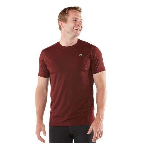 Mens ROAD RUNNER SPORTS Training Day Short Sleeve Technical Tops - Heather Vintage Red L ...