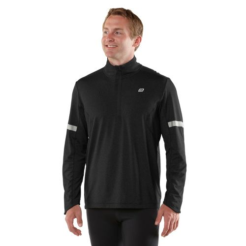 Mens ROAD RUNNER SPORTS Reaction Long Sleeve 1/2 Zip Technical Tops - Black L