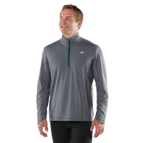 Mens ROAD RUNNER SPORTS Reaction Long Sleeve 1/2 Zip Technical Tops - Heather Charcoal/Deep ...