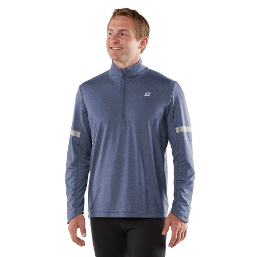 Mens ROAD RUNNER SPORTS Reaction Long Sleeve 1/2 Zip Technical Tops - Heather Midnight Blue ...