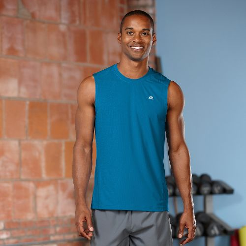 Mens R-Gear Runner's High Sleeveless & Tank Technical Tops - Tempo Teal M