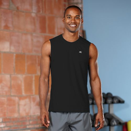 Mens Road Runner Sports Runner's High Sleeveless Tanks Technical Tops - Black XL