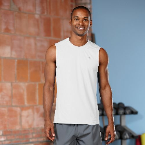 Mens Road Runner Sports Runner's High Sleeveless Tanks Technical Tops - White S