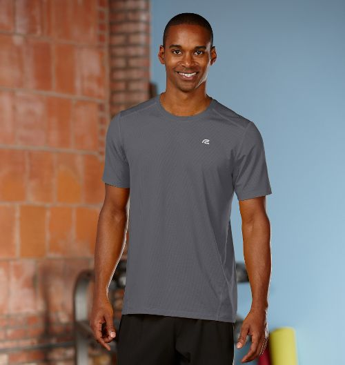Mens R-Gear Runner's High Short Sleeve Technical Top - Steel L
