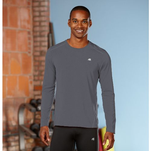 Mens Road Runner Sports Runner's High Long Sleeve No Zip Technical Tops - Steel L ...