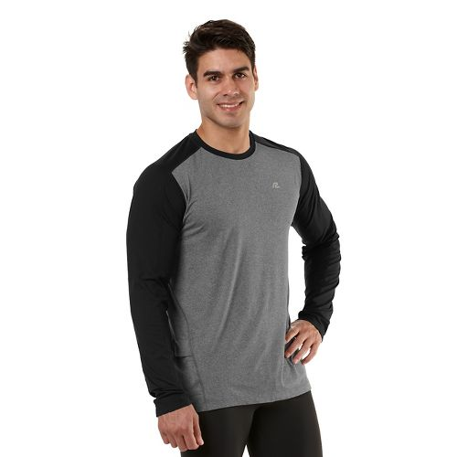 Mens Road Runner Sports Base Runner Long Sleeve No Zip Technical Tops - Heather Charcoal/Black ...