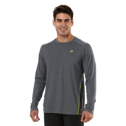Mens Road Runner Sports Switch It Up Long Sleeve No Zip Technical Tops - Heather ...