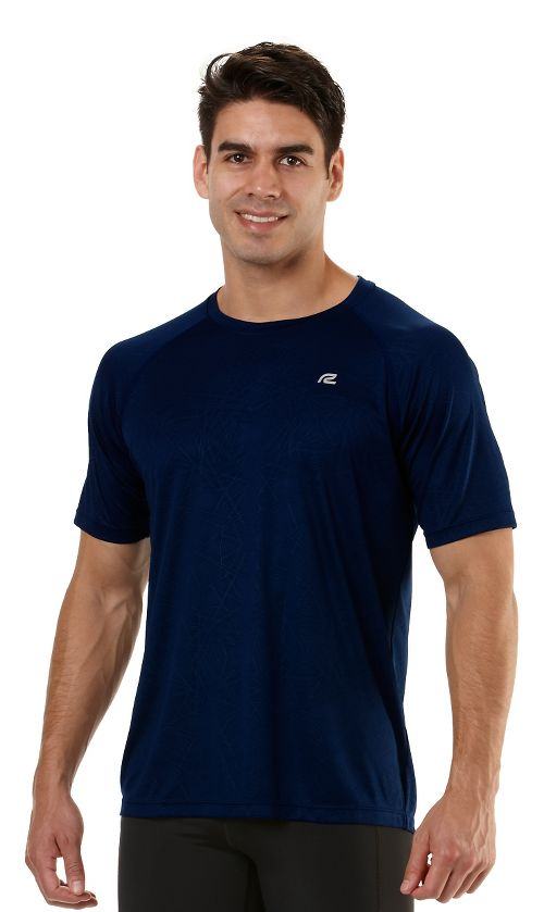 Mens Road Runner Sports Speed Play Crew Short Sleeve Technical Tops - Midnight Blue S