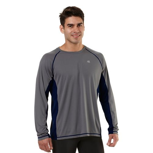 Mens Road Runner Sports Speed Play Crew Long Sleeve No Zip Technical Tops - Steel/Midnight ...
