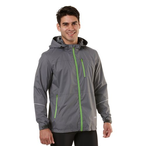 Mens Road Runner Sports All Weather Pro Outerwear Jackets - Steel/Grass Green L