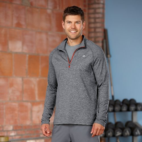 Mens Road Runner Sports Reaction Long Sleeve 1/2 Zip Technical Tops - Heather Charcoal/Flame L ...