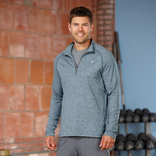 Mens Road Runner Sports Reaction Long Sleeve 1/2 Zip Technical Tops - Heather Deep Teal/Steel ...