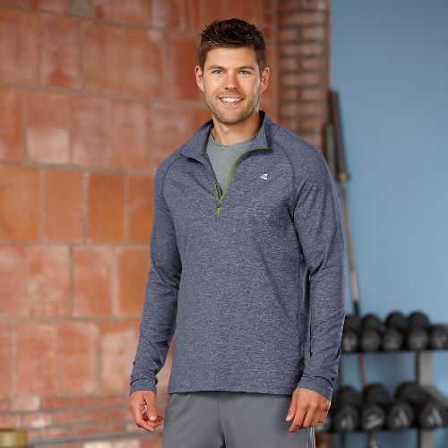Mens R-Gear Reaction Long Sleeve 1/2 Zip Technical Tops - Heather Midnight Blue/Grass Green XXL ...