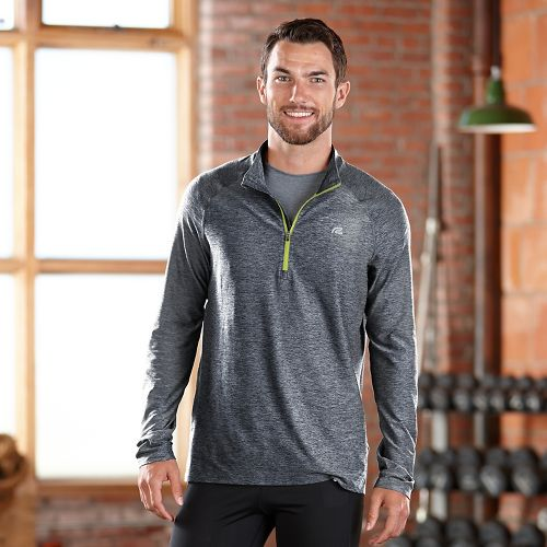 Mens R-Gear In The Zone Half-Zip Long Sleeve Technical Tops - Charcoal/Neon Glow L