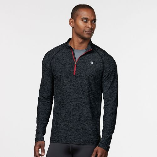 Mens R-Gear In The Zone Half-Zip Long Sleeve Technical Tops - Charcoal/Red Zone XL