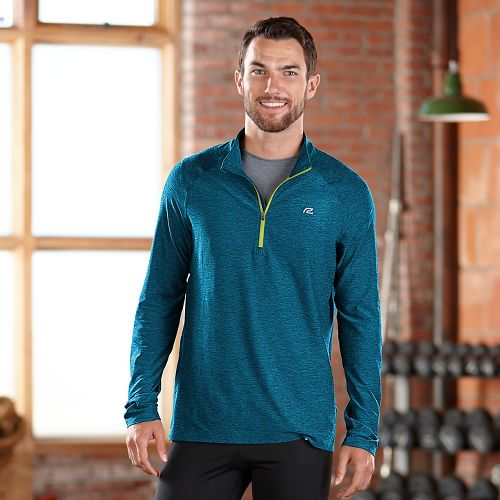 Mens R-Gear In The Zone Half-Zip Long Sleeve Technical Tops - Tempo Teal/Neon Glow L ...