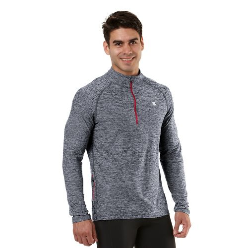 Mens Road Runner Sports In The Zone Long Sleeve 1/2 Zip Technical Tops - Charcoal/Hotrod ...