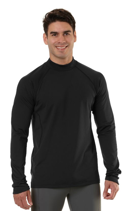 Mens Road Runner Sports Insulator Thermo Mock Long Sleeve No Zip Technical Tops - Black L