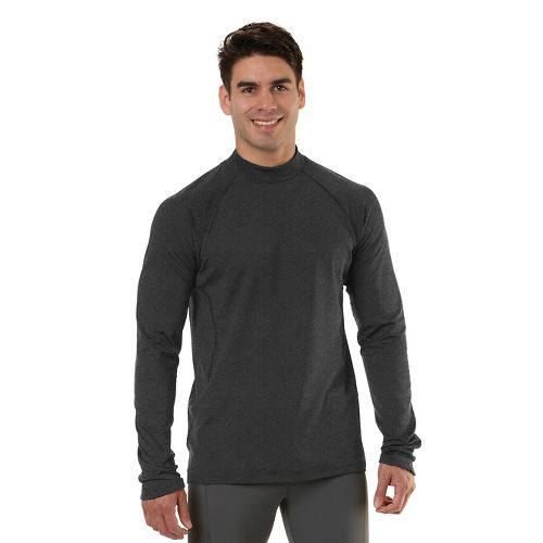Mens Road Runner Sports Insulator Thermo Mock Long Sleeve No Zip Technical Tops - Heather ...