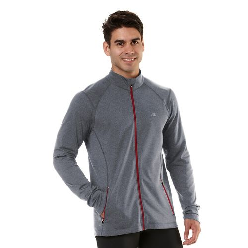 Mens Road Runner Sports Latitude Outerwear Jackets - Heather Charcoal/Hotrod Red XL