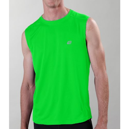 Mens ROAD RUNNER SPORTS Runner's High Sleeveless Technical Tops - Flash Green XXL