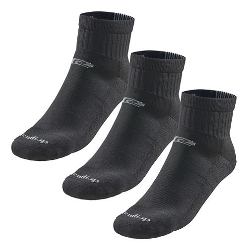 Road Runner Sports Drymax Dry-As-A-Bone Medium Cushion Quarter 3 pack Socks - Black XL
