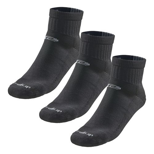 Road Runner Sports Drymax Dry-As-A-Bone Medium Cushion Quarter 3 pack Socks - Black L