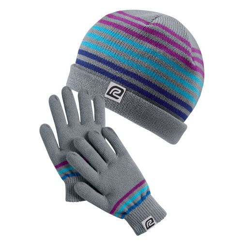 Womens Road Runner Sports Earn Your Stripes Hat & Glove Set Headwear - Heather Grey/Multi ...