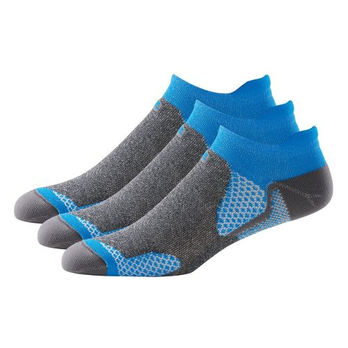 R-Gear Dryroad Simple & Speedy Thin No Show Tab 3 pack Socks - Electric Blue/Charcoal ...