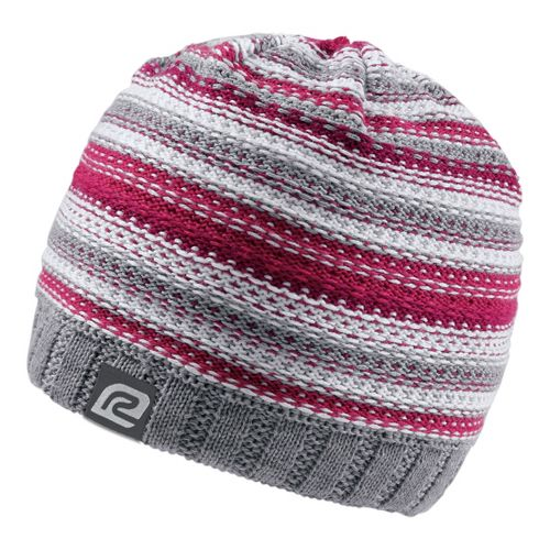 Womens Road Runner Sports Lucky Striped Beanie Headwear - Grey/Passion Punch
