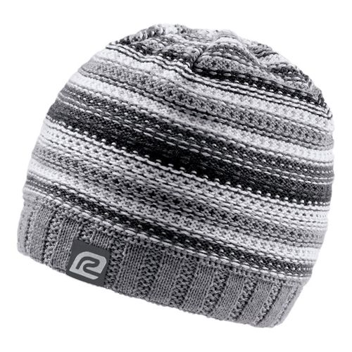 Womens Road Runner Sports Lucky Striped Beanie Headwear - Grey/White