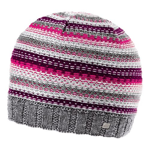 Womens Road Runner Sports Lucky Striped Beanie Headwear - Mulberry Madness/Passion Punch