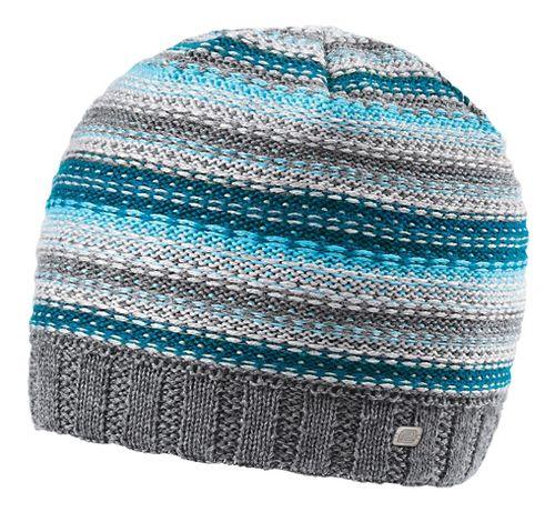 Womens Road Runner Sports Lucky Striped Beanie Headwear - Peacock Blue/Sea Breeze