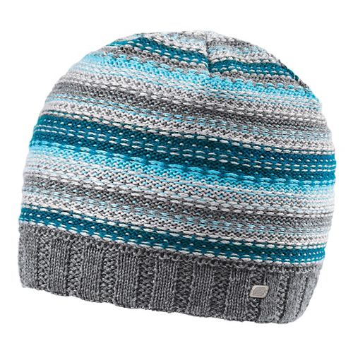 Womens Road Runner Sports Lucky Striped Beanie Headwear - Peacock Blue/Sea Breeze