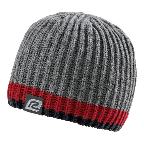 Mens R-Gear Bold Striped Beanie Headwear - Grey/Vintage Red