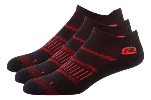 Mens Road Runner Sports Dryroad Simple & Speedy Thin No Show 3 pack Socks - Vintage Red M