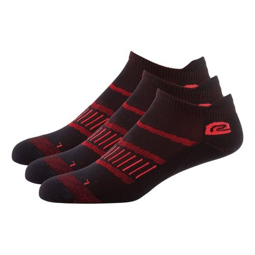 Mens Road Runner Sports Dryroad Simple & Speedy Thin No Show 3 pack Socks - Vintage Red L