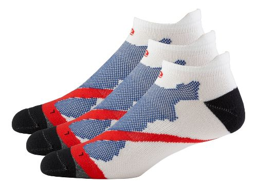 Mens Road Runner Sports Dryroad Simple & Speedy Thin No Show 3 pack Socks - White M