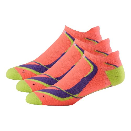 Womens Road Runner Sports Dryroad Simple & Speedy Thin No Show 3 pack Socks - Just Peachy S